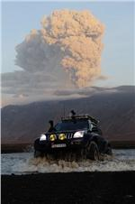 Super jeep in Eyjafjallajokull eruption